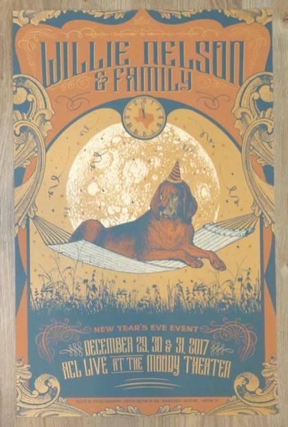 2017 willie nelson nye austin silkscreen concert poster by status serigraph