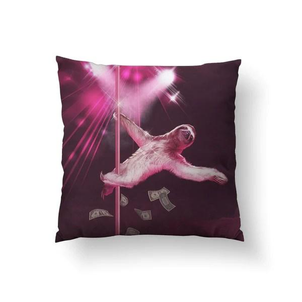 stripper sloth throw pillow sharp shirter
