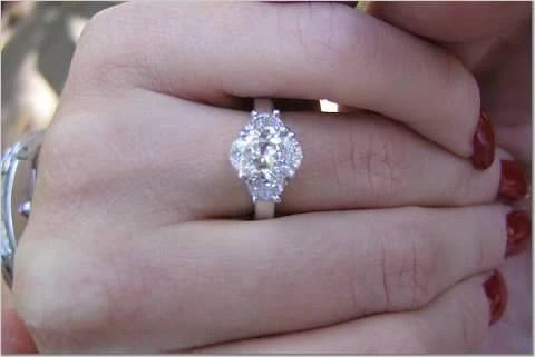 284ct Oval Diamond Engagement Ring Oval Half MOON
