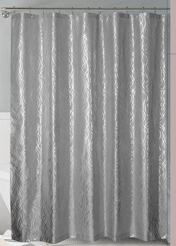 grey silver metallic cadena de plata faux silk fabric shower curtain with hooks