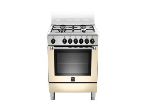 Bertazzoni La Germania Amn604mfescre Cucina 4 Fuochi Gas Forno Elettrico Ventilato 60 Cm Crema Opaco Serie Americana Classe A