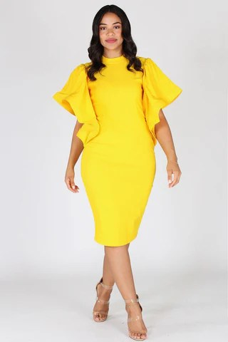 Plus Size Elegant Bell Sleeves Keyhole Dress