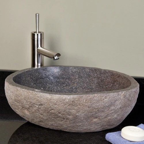 small stone bathroom sink - balinese stone sink - beyond tile