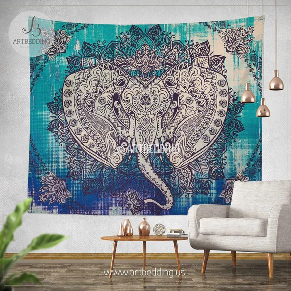 Boho Elephant Tapestry Ganesh Elephant Wall Hanging