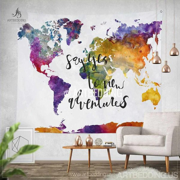 Boho Tapestry World Map Watercolor Wall Tapestry Modern