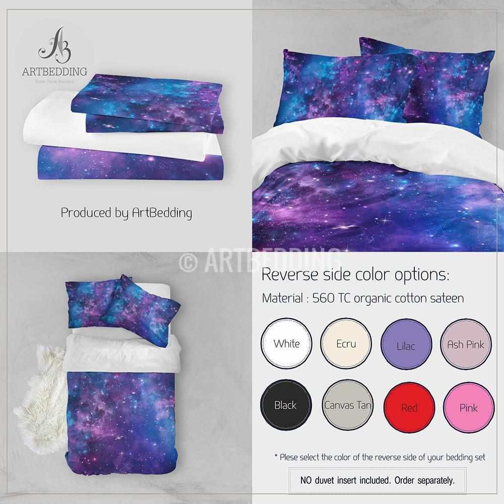 Deep Space bedding set, Blue and purple Nebula with stars ...