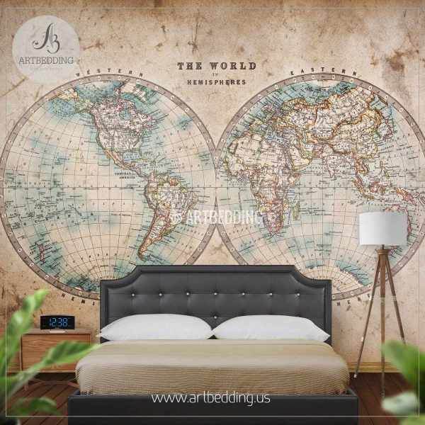 Vintage Map Wall Mural  Self Adhesive Photo Mural   ARTBEDDING     Genuine stained world map from mid 1800 s Hemisphere Wall Mural  Self  Adhesive Peel   Stick