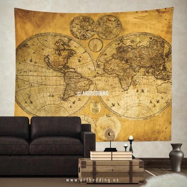 Vintage World Map Wall Tapestry Vintage Interior World