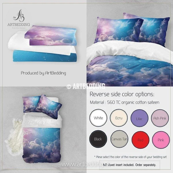 Space of night sky with cloud and stars bedding, Queen ...