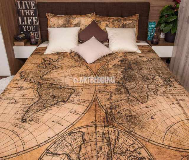 Twin Xl Vintage Map Duvet Cover Vintage Old Map Dorm Duvet Cover Vintage Steampunk