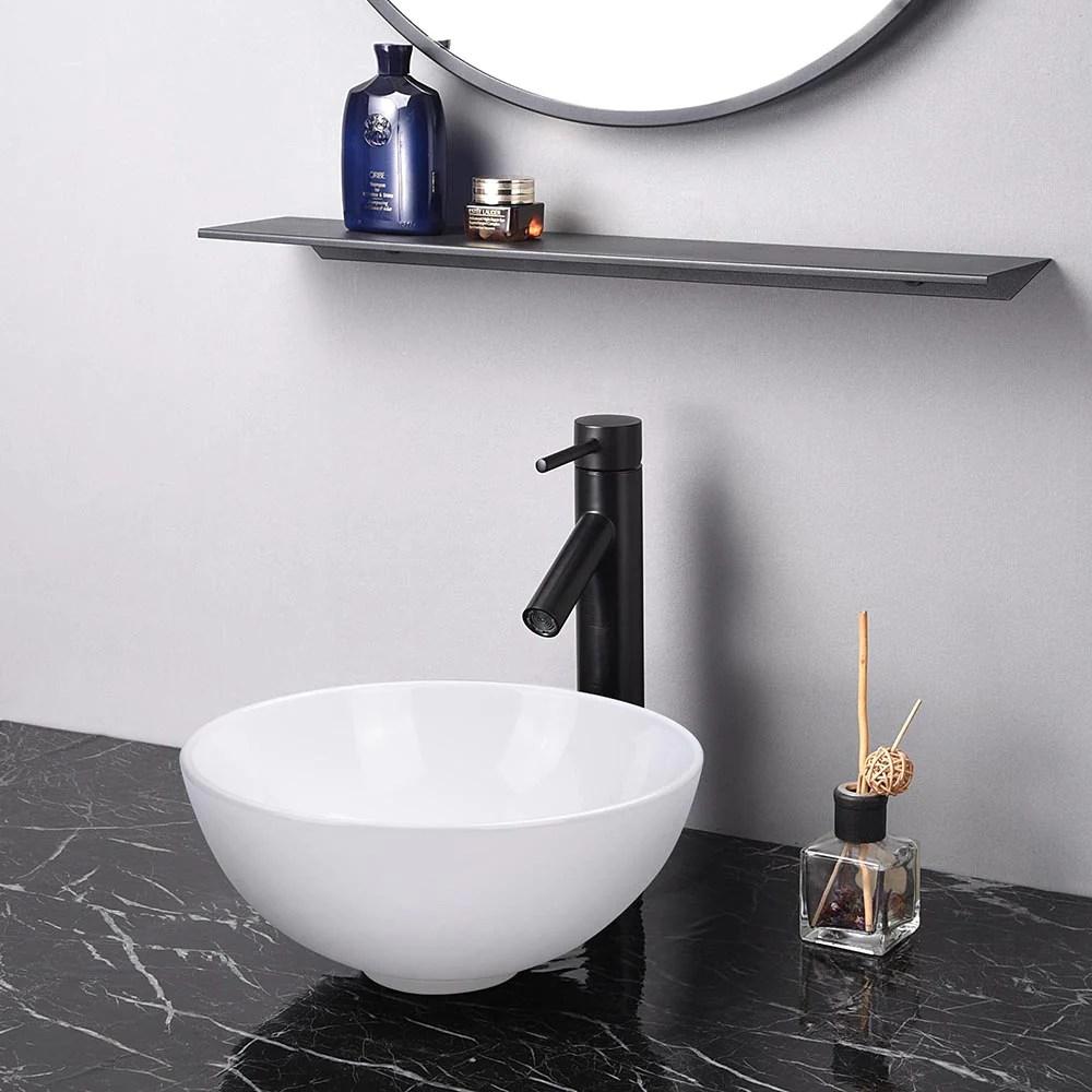 yescom small bathroom vessel sink ceramic w drain circular 12