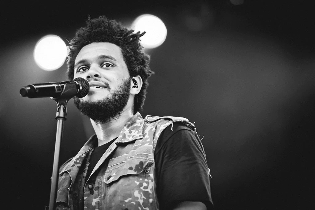 the weeknd face black and white poster