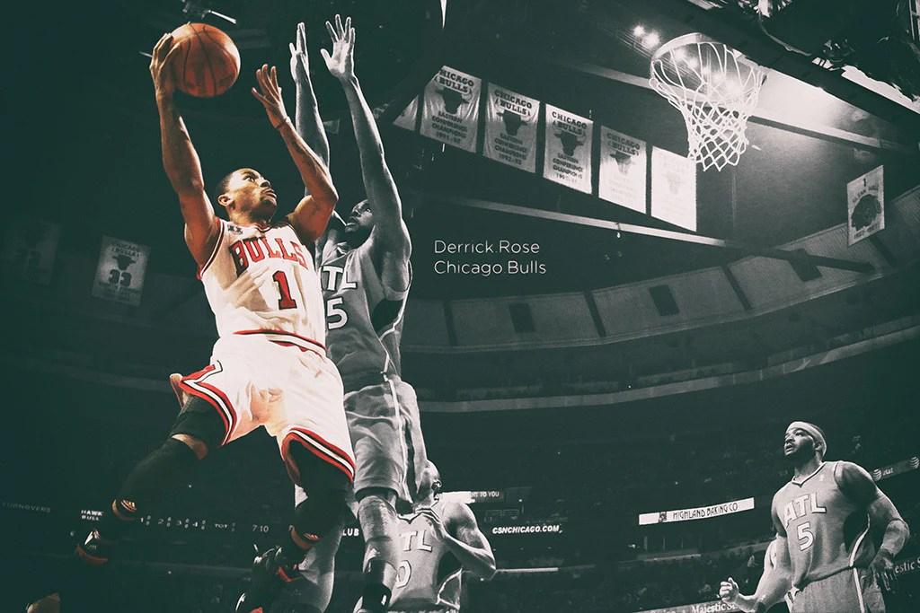 derrick rose chicago bulls basketball nba player poster
