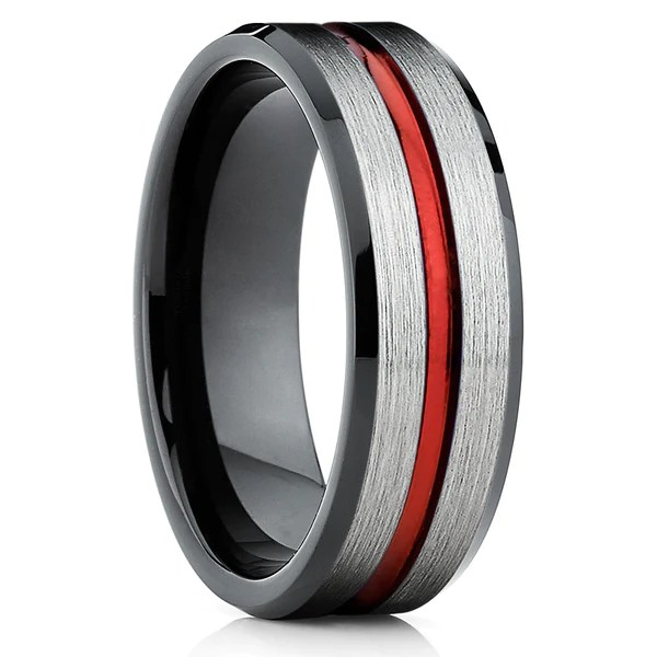 Red Tungsten Ring Red Wedding Band Tungsten Wedding