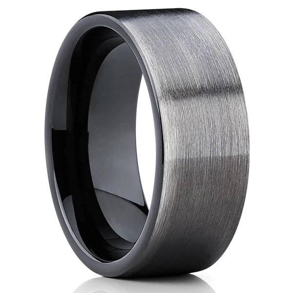 Gunmetal Tungsten Wedding Band Black Ring Tungsten