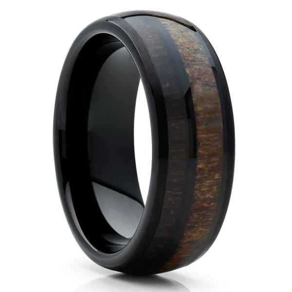 Deer Antler Wedding Band Tungsten Cherry Wood Antler