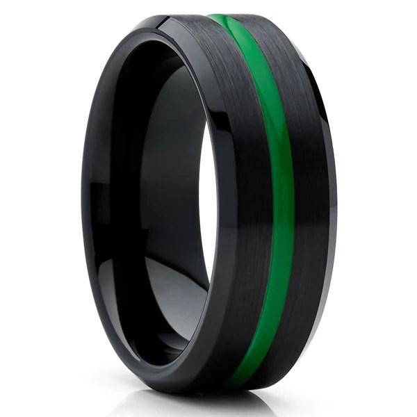 Green Tungsten Wedding Ring Black Band Green Tungsten