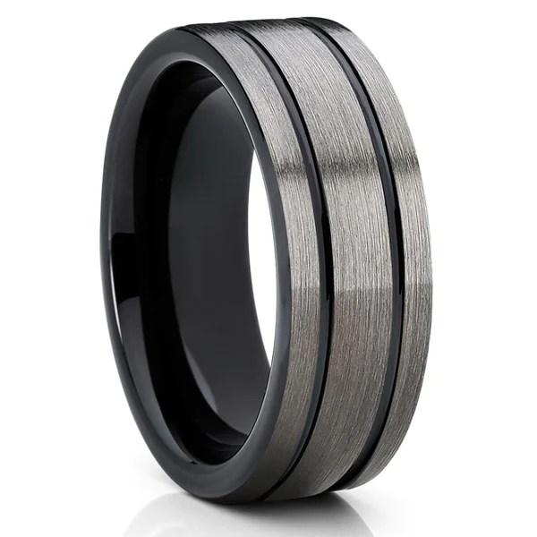 Black Tungsten Wedding Band Gray Tungsten Ring Gunmetal