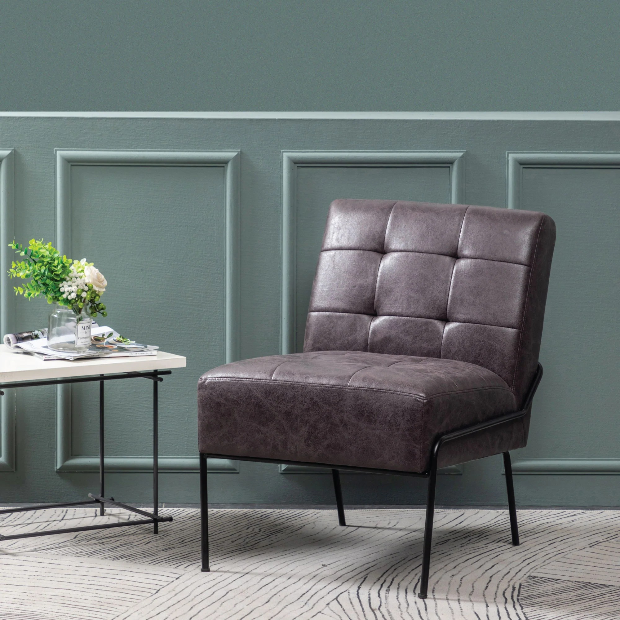 armless tufted accent chair
