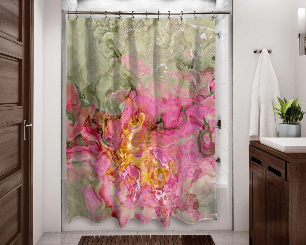 Contemporary Shower Curtain Pink Golden Yellow Sage Gray
