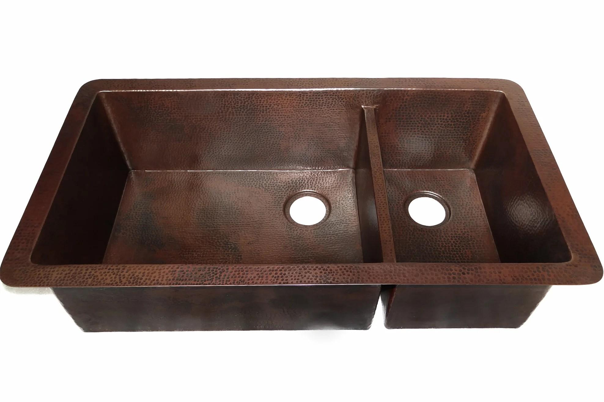 cocina master duo undermount kitchen copper sink double basin 40 x 22 x 10 5 ks011cv