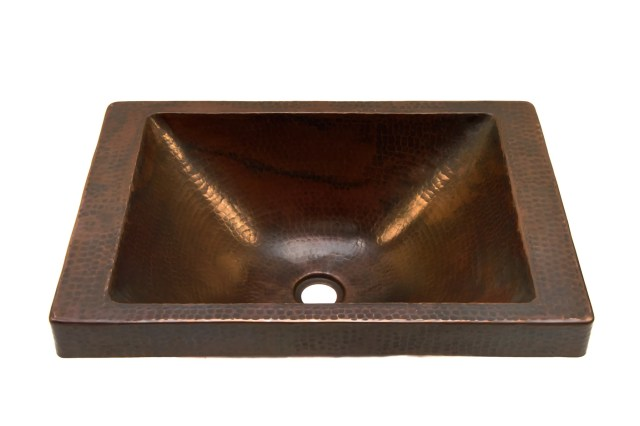 "Oval Raised Profile Bathroom Copper Sink with 1 5"" Apron and Flat"