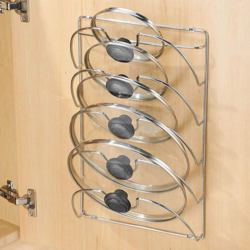 mounted pot lid rack organizer for cabinets or doors fits 5 lids
