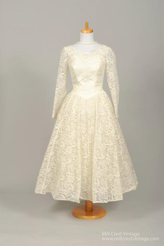 1950 Sequin Tea Length Vintage Wedding Dress
