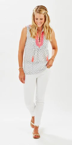EMBROIDERED TASSEL TOP POLKA DOT DENIM