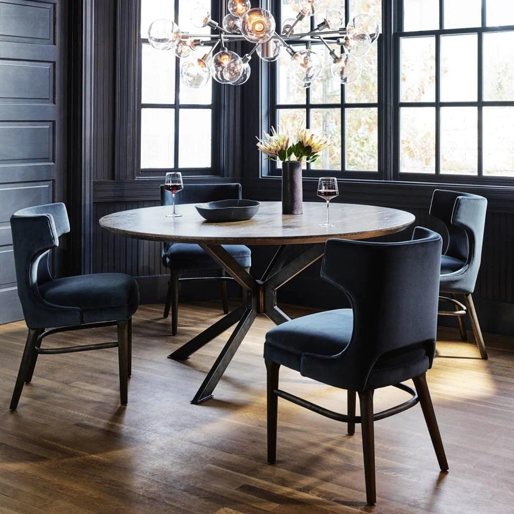 Task Dark Blue Velvet Dining Chair
