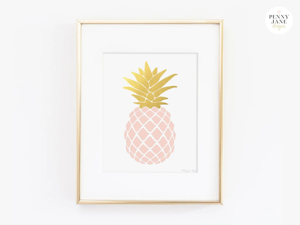 Pink Quartz and Gold Pineapple Art Print     Penny Jane Designs     pineapple wall decor  pineapple home decor  tropical beach decor   tropical fruit decor