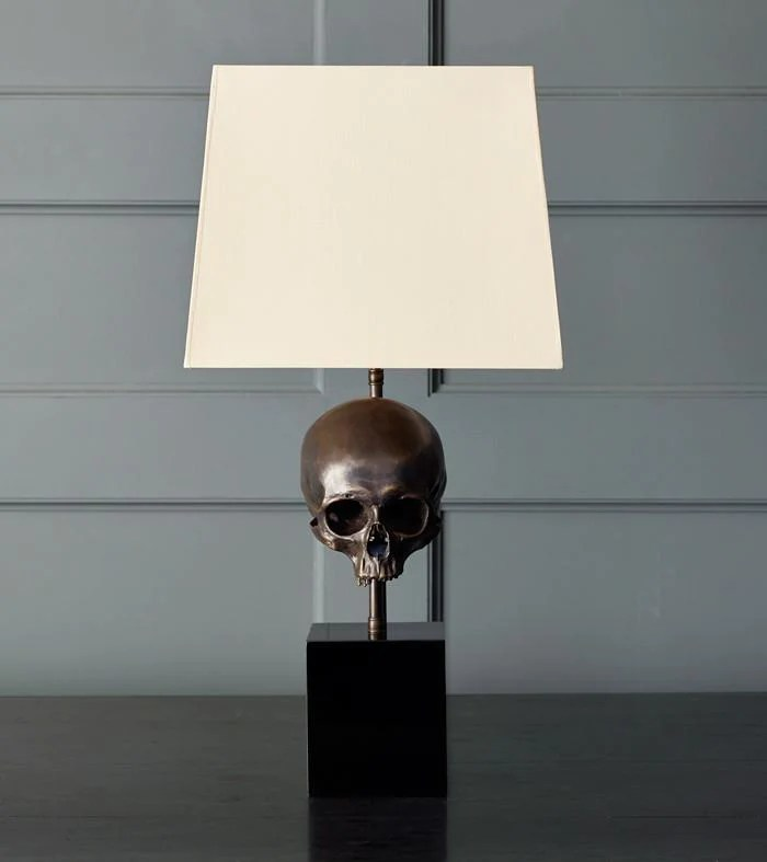 Skull Table Lamp Bronze Blackman Cruz