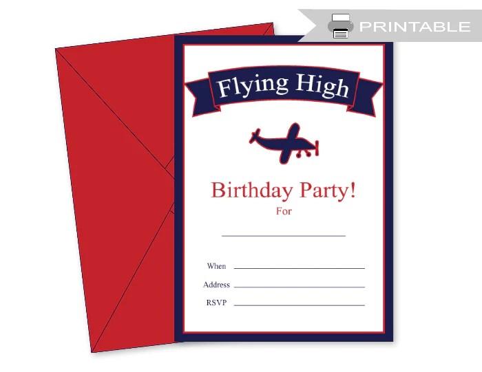 airplane birthday party invitation printable