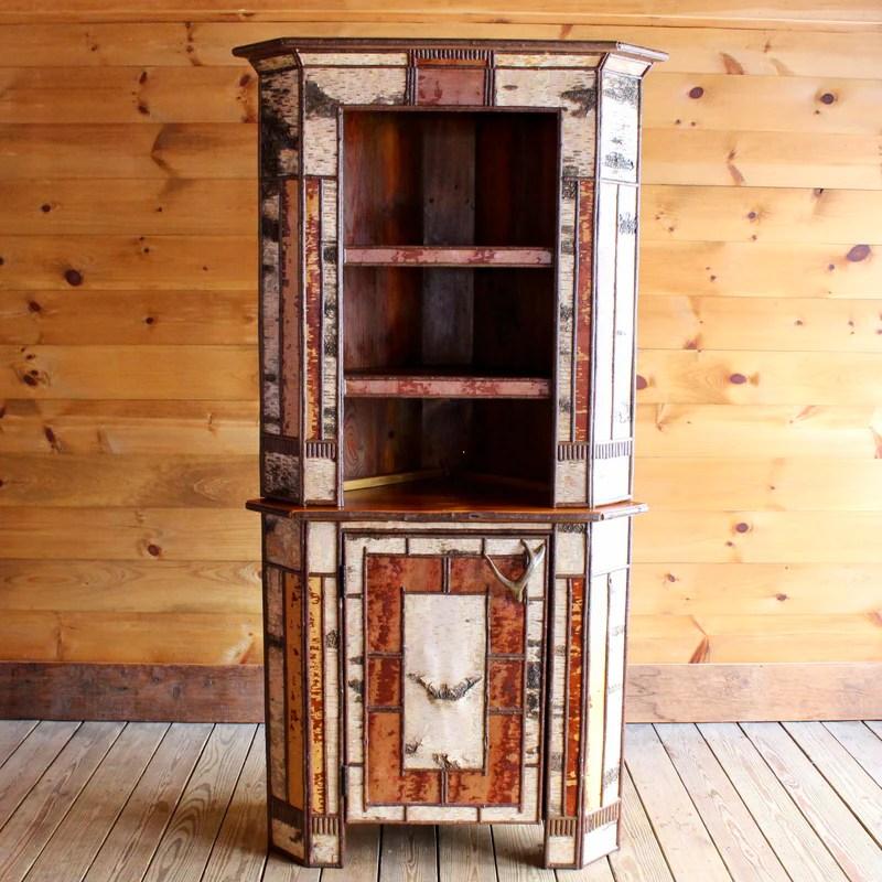 Tupper Stepback Corner Cabinet Handmade Adirondack