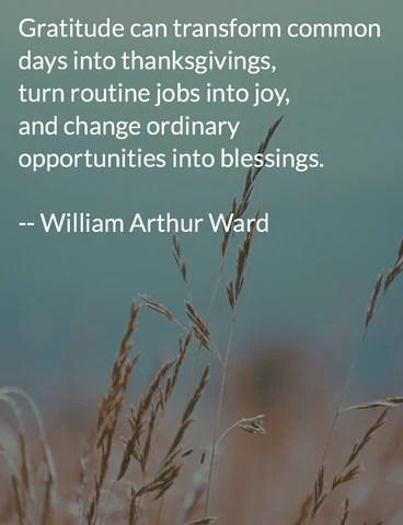 William Arthur Ward quote on gratitude