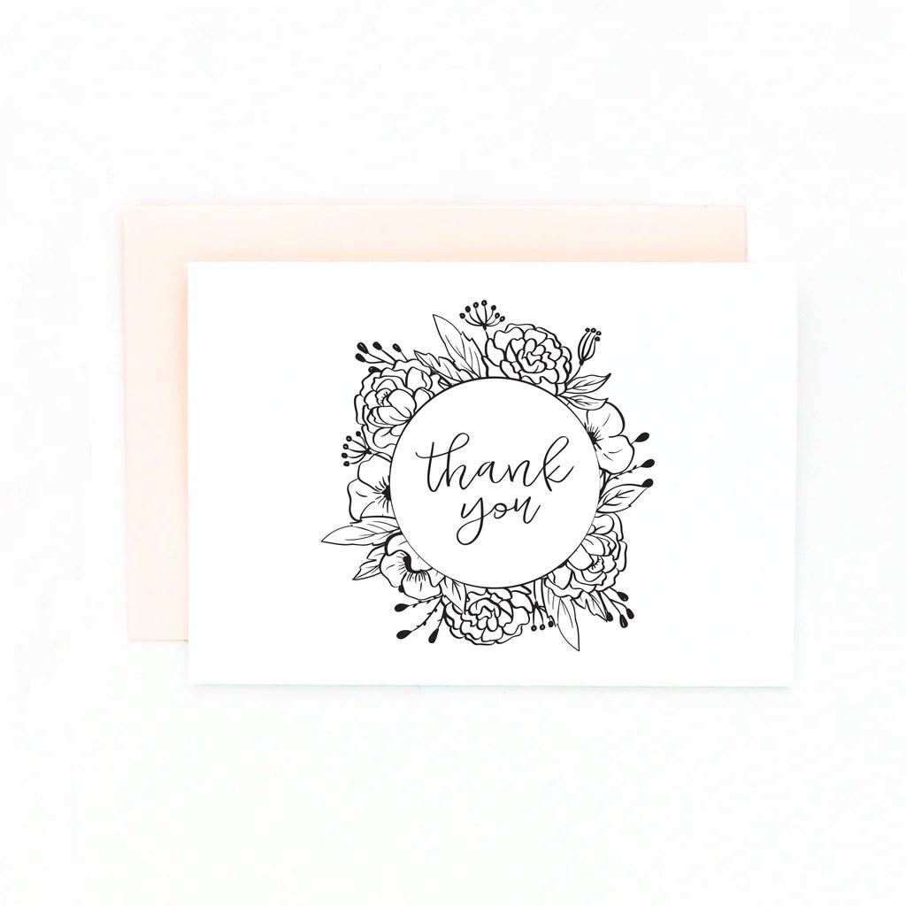 Diy Floral Thank You Card Set Peach Paper Design