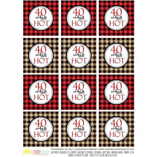Printable 40th Buffalo Plaid Birthday 40 And Still Hot