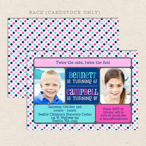 joint birthday party invitations for 2