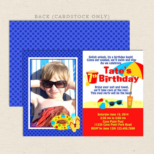 beach party boy birthday invitations