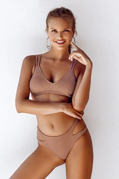 Ribbed Double Straps Bikini