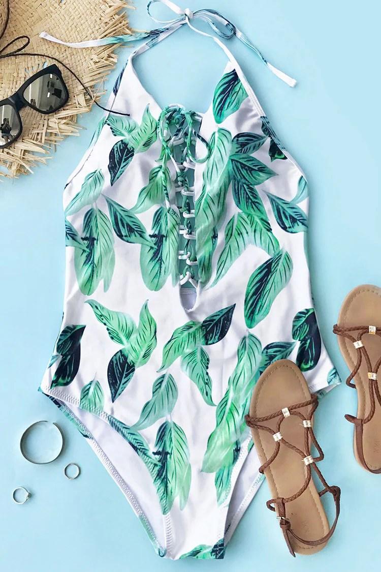 Transparent Green Leaf One-piece Swimsuit