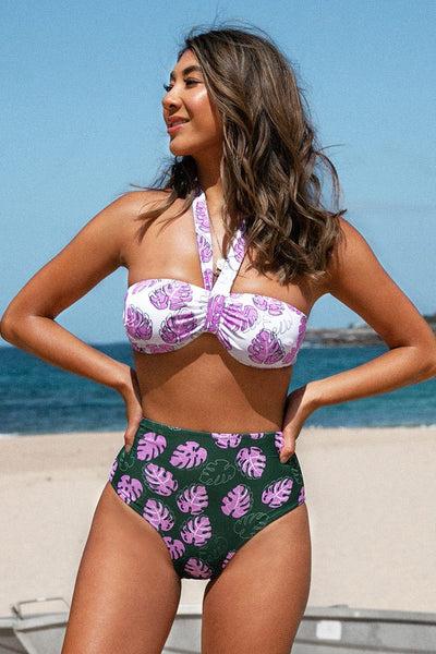 Purple Leafy Print High-Waisted Bikini