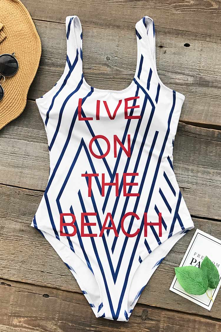 Live On The Beach Print One-piece Swimsuit