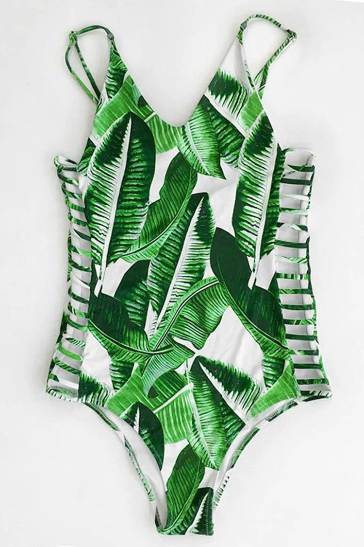 Banana Leaves Print One-piece Swimsuit