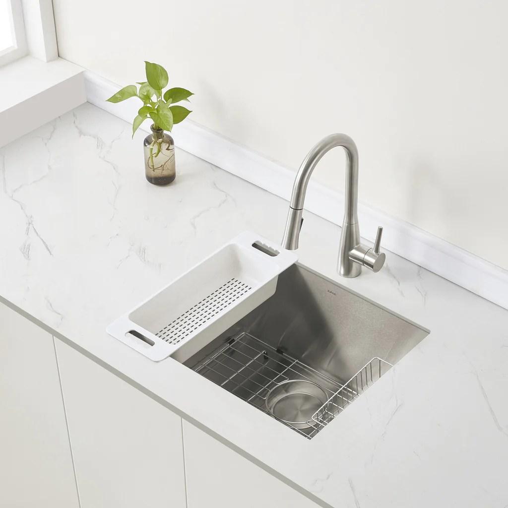 zuhne urbino 23 inch undermount utility sink for laundry room 16 gauge 12 deep single bowl