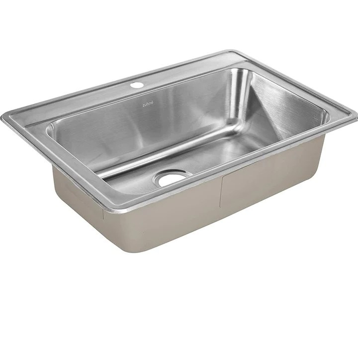 zuhne drop in kitchen sink stainless steel 33 by 22 single bowl
