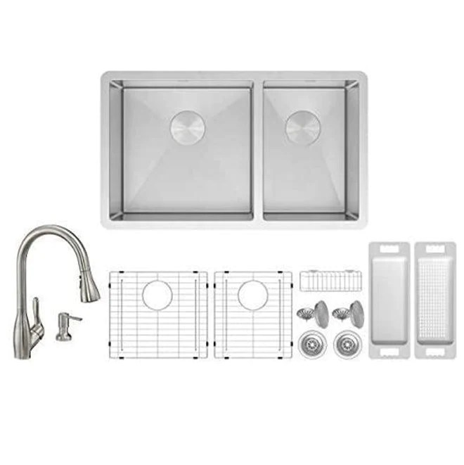 zuhne roma 32 inch 16g stainless 60 40 double bowl under mount sink w grate protector caddy colander strainer and wica pull out kitchen faucet