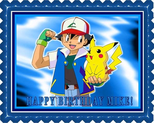 Pokemon Pikachu Edible Birthday Cake Or Cupcake Topper