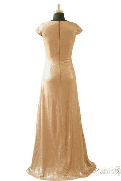 Cap Sleeves Rose Gold Sequins Bridesmaid Dress Mother Of The Bride Dr