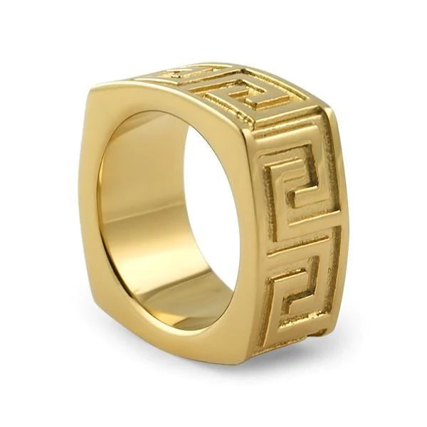 18K Gold IP Greek Key Mens Ring JewelryFresh